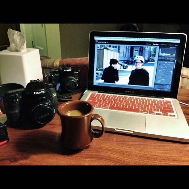 A little late night #coffee and editing! #camera #canon #panasonic #mac #lightroom  (Taken with Instagram)