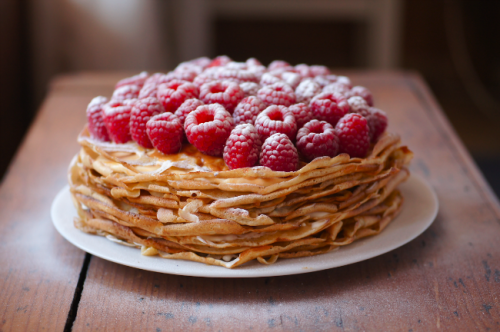 Dusky Caramel and Raspberry Crêpe Cake