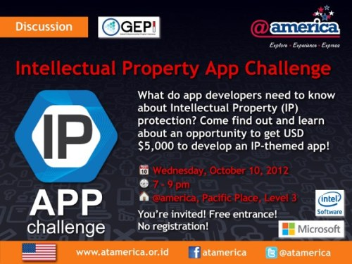 Come to @atamerica tonight and find out intellectual property rights issues that software developers need to now. Create an app about IP rights and win $5000.