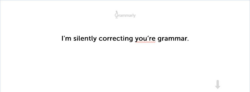"""… and your spelling and punctuation.""Check out the new Grammarly Facebook cover photo. Click the photo and ""Save as"" in order to upload it to your cover photos!"