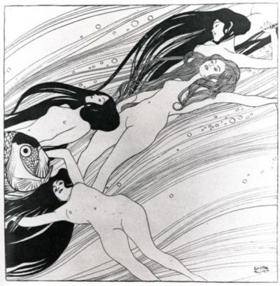 The blood of fish by Gustav Klimt, 1898. Pen and ink.