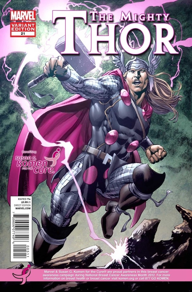 Thor goes pink for the cause.