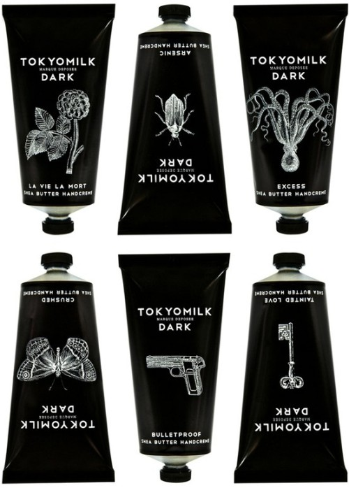 Tokyomilk This packaging range combines elegant design with a handcrafted edgy feel. Designed by Margot Elena, an internationally renowned perfumer and designer. Emma