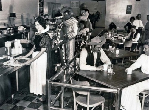 laughingsquid:  Disneyland's Backstage Cafeteria, 1961  Wow. Never out of costume, of course. The astronaut, my fave!