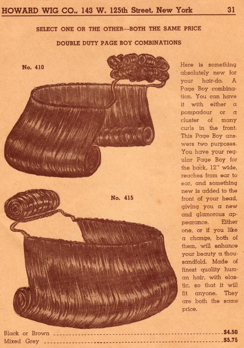 African-American weaves from 1946.  The Howard's Wig Shop Pamphlet on DULL TOOL DIM BULB the BLOG   HERE