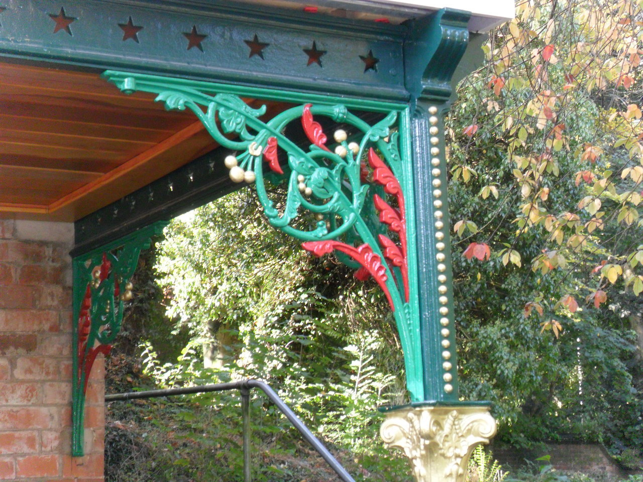 Victorian Ornamental Iron work on a restored Pavilion at Walsall Arboretum,Walsall,England