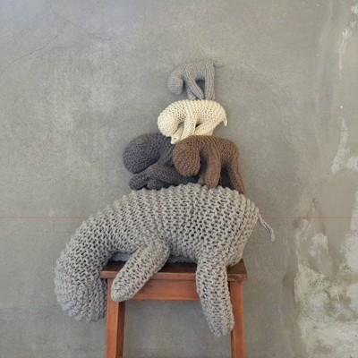 Hand-knitted sheep of wool -  April and May