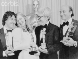 52nd Academy AwardsApril 14, 1980 Dustin Hoffman (Best Actor), Meryl Streep (Best Supporting Actress), director Robert Benton (Best Director and Best Adapted Screenplay), and producer Stanley R. Jaffe (Best Picture) pose backstage with their awards, all for Kramer vs Kramer.
