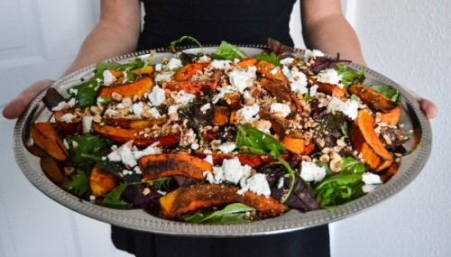 Roasted Pumpkin Salad with Feta, Pine Nuts, and a Homemade Cherry Vinaigrette DELICIOUS!