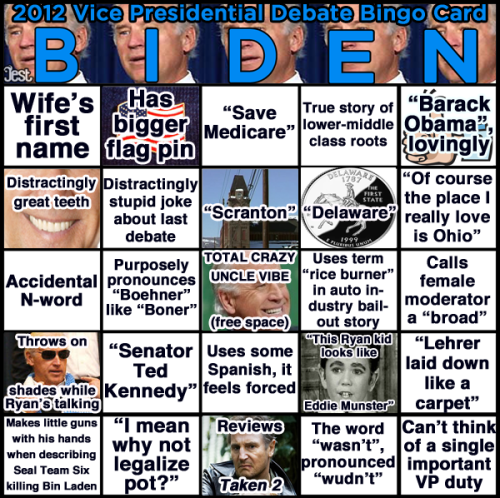 Get ready to play Vice Presidential Debate BINGO tomorrow night with this card for Joe Biden, and CLICK THROUGH for a Paul Ryan card to go with it.