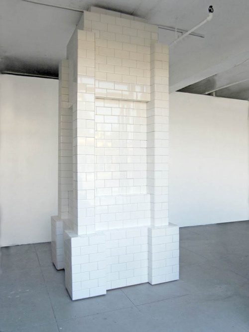 theories-of:  KATHLEEN RYAN Tile Stove, 2010, ceramic tile, wood, 104 x 48 x 48 inch