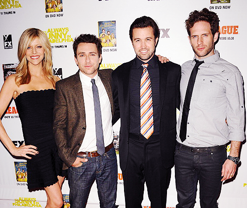 Kaitlin Olson, Charlie Day, Rob McElhenney and Glenn Howerton attend the FX season premiere screenings for 'It's Always Sunny In Philadelphia' and 'The League' on 10/9/2012 in Hollywood, California.