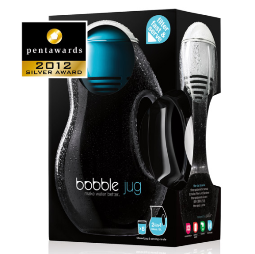 "we are thrilled to announce that bobble jug has been awarded a 2012 Silver Pentaward in the category of ""home improvement.""the Pentawards are the first and only worldwide competition exclusively devoted to packaging design in all its forms."
