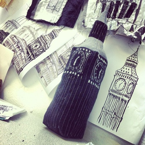 missmeaney:  3D version of Big Ben finished! #london #bigben #textiles #stitching #thread #line #artwork #uni #instart #3D #soft #toy #interior (Taken with Instagram)