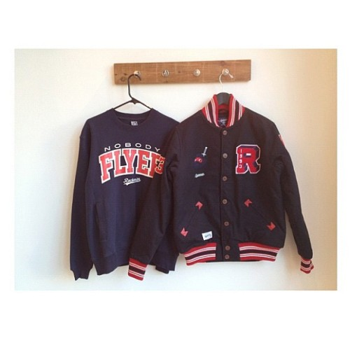 #ninja block varsity and nobody flyer crewneck. Navy story. fall 2012 available now.   (Taken with Instagram)