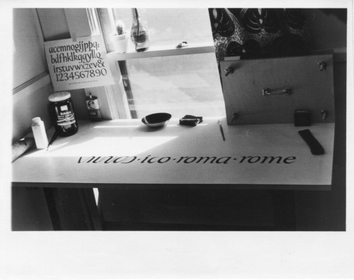 Lloyd Reynolds' studio desk, ca. 1960. Photo: Lloyd Reynolds Collection, Special Collections, Reed College Library.