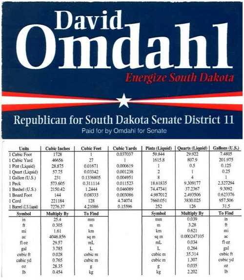 "District 11 Senate candidate David Omdahl has what may be the most unique candidate business card I've seen. On the front is his campaign logo. On the back, rather than the usual contact information, is a table of unit conversions. Sure, these days you can just type ""1 cubic foot in cubic inches"" into Google and get the answer, but there's something about this reference table that's positively charming. Omdahl has a background in engineering, which could explain his interest in the unusual measurement-filled card. Now if only he could have ALSO managed to get some sort of contact information — a phone number, an email address or a website — onto the card, too. Omdahl is running against Democrat Tom Cool for the Senate seat being vacated by Todd Schlekeway. Here's Cool's campaign website; here's Omdahl's campaign Facebook page."