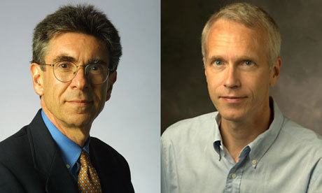 Robert Lefkowitz (left) and Brian Kobilka won the Nobel prize in chemistry for their work on G-protein-coupled receptors. Photograph: AFP/Getty Images