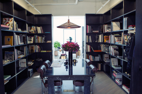 vogue:  A view of Phillip Lim's library in his New York studio.Photographed by Victoria WillSee the slideshow