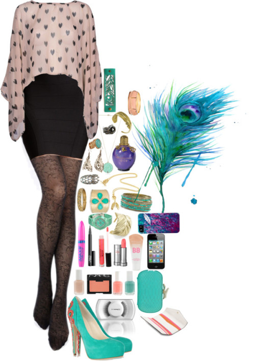 Peacock Inspired Outfit by wardrobeofmylife featuring high heel shoes