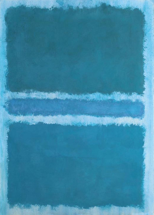 dientes-de-leche:  Mark Rothko, Blue Divided by Blue, 1966.   Just in time for Sunday blues