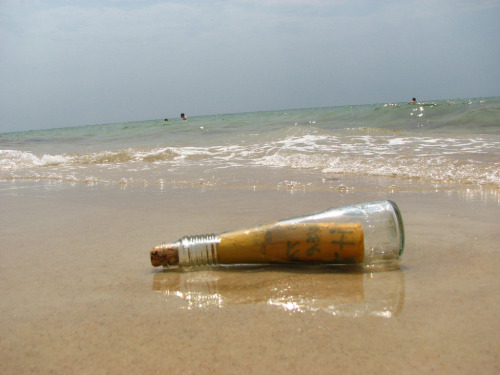 npr:  Capt. Sean Bercaw has thrown hundreds of messages in bottles into the ocean, and received dozens of responses. He talked to NPR's Neal Conan about why, and the responses he's gotten. At 13, he received a response from a woman in Grenada that read a little bit like a personals ad. And two bottles released on consecutive days both landed in France … But one took a year and a half, and the second took 10 years. Have you ever thrown a message in a bottle? Have you ever found one? —Sarah Photo by Dasha Bondareva via Flickr.