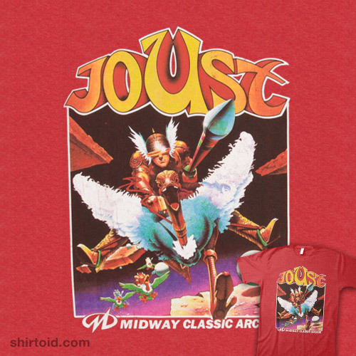 shirtoid:   Joust available at 80sTees   Ack, one of my favorite games.  That and Tempest.  And probably the only ones I was any good at.