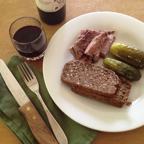 Deli plate. Sliced grass-fed beef tongue, homemade pickles and country bread loaf. And red wine.  (Taken with Instagram at The Urban Ranch)