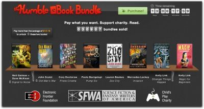 "The Humble eBook Bundle Humble Bundle, a San Francisco based startup that allows buyers to set the purchase price for ""bundles"" of DRM free video games, albums and ebooks, has a new bundle for the offering. The Humble eBook Bundle contains ebooks by Cory Doctorow, Paolo Bacigalupi, Lauren Beukes, Mercedes Lackey and Kelly Link. If you pay more than the current average price, you get two more books, Old Man's War by John Scalzi and Signal to Noise by Neil Gaiman and Dave McKean. Format is your choice of DRM free PDF, MOBI, and ePub formats. We've seen this set-your-price model before, most famously with Radiohead's download release of In Rainbows. What's nice about Humble Bundles though is that not only do you get to name your price, you also get to set how the money is distributed between the creators (in aggregate), charity and to Humble Bundle itself. Past charities have included Child's Play, the Electronic Frontier Foundation, charity: water and the American Red Cross. The company claims they have sold over $19.2 million worth of Bundles since 2010 with $6.4 million of that going to charities. Currently, the eBook bundle has over 31,000 sales, total payments of close to $380,000 and an average purchase price of $12.19. Linux users, on average, are paying the most. Image: Screenshot, the Humble eBook Bundle. Select to embiggen."