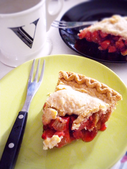 strawberry rhubarb pie and pumpkin coffee