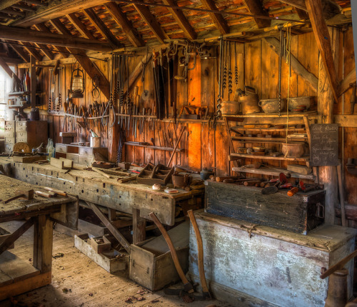 A late 19th century carpenter's workshop with its original tools. Now in the Weald and Downland Museum. by Anguskirk on Flickr.