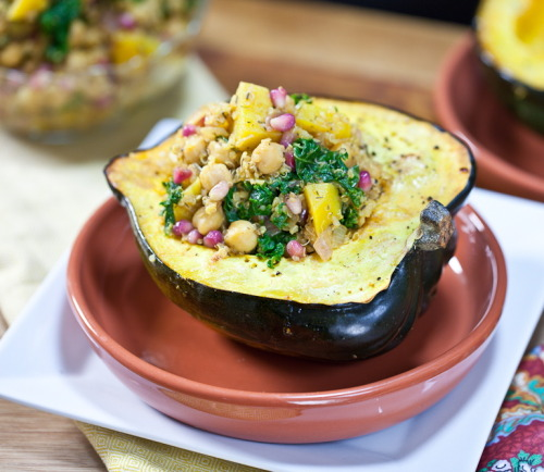 findvegan:  Pomegranate & Chickpea Quinoa Stuffed Squash