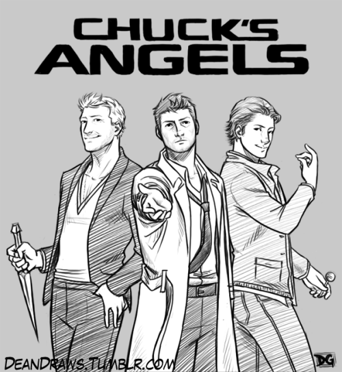 Chuck's Angels by *DeanDraws Commission for Titaniumcurves! :D