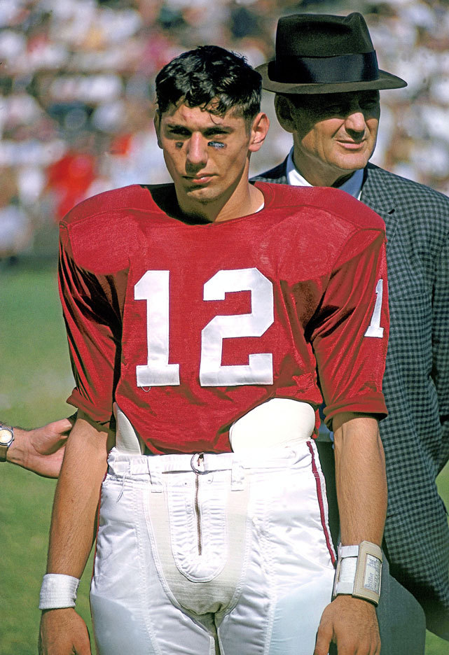 Alabama quarterback Joe Namath and coach Bear Bryant stand on the sideline during a 1962 game against Tennessee. During his three seasons with the Crimson Tide, Namath led the team to a 29–4 record and a national championship in 1964. This year's Alabama squad, which is ranked No. 1 in Andy Staples' latest Power Rankings, is in position to win another championship if they keep up their dominant play. STAPLES: Alabama No. 1 in this week's Power Rankings GALLERY: Rare Photos of Joe Namath
