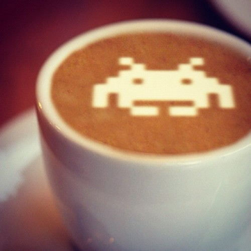 it8bit:  Space Invaders Latte Image by Anthony Hardwood