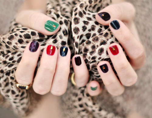 DIY Jewel Tone Nail Art Tutorial from …Love Maegan here.