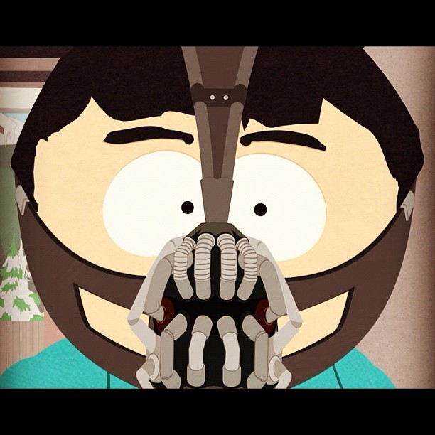 comedycentral:  Randy in a Bane mask?  What do you think will go down in tonight's new #SouthPark episode? (Taken with Instagram at Comedy Central)  Can't wait