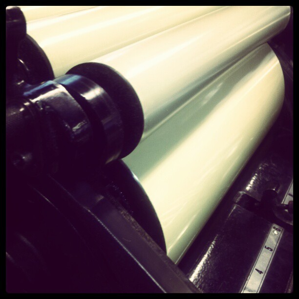 This opaque yellow is making me want some peeps. Stat!… #letterpress #presscheck #themandatepress (Taken with Instagram)