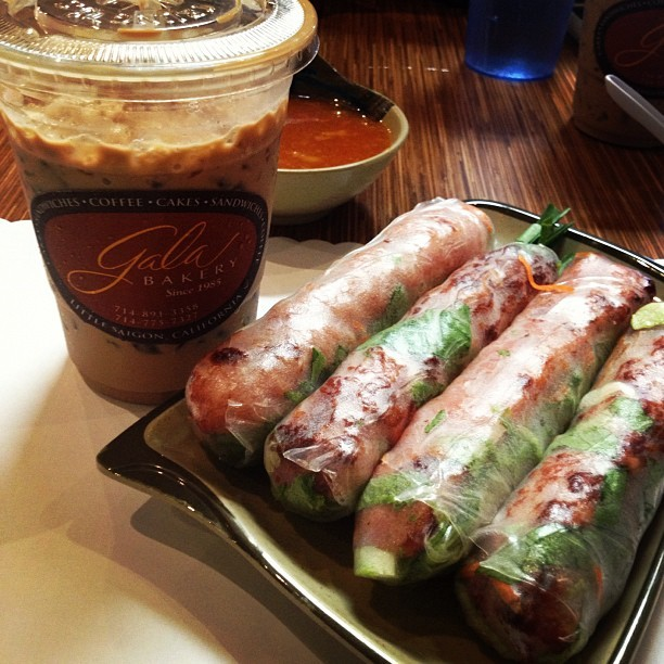 Lil Saigon essentials: gala iced coffee & brodards spring rolls (Taken with Instagram at Brodard Restaurant)