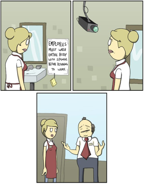 collegehumor:  Work Bathroom by Amazing Super Powers See more comics here.