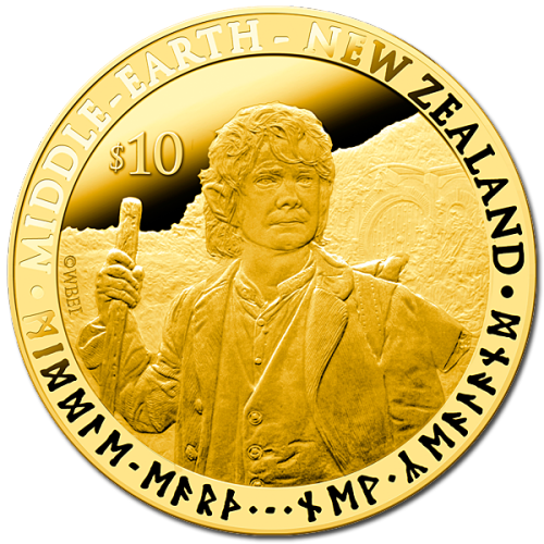 Yes, Hobbit Coins Will Be Legal Tender in New Zealand In the strange but fun and true, via the Telegraph:  Hobbit coins, featuring characters such as Bilbo Baggins and Gandalf the wizard, will be legal tender in the country, New Zealand Post said – although their face value will be only a fraction of the cost collectors will be expected to pay. The most expensive, made from one ounce (28.3 grams) of pure gold, costs more than 350 times its face value. It will set Tolkien enthusiasts back NZ$3,695 (£1890) but has a face value of just NZ$10 (£5). The cheapest is available for almost 30 times its face value – a NZ$1 (£0.50) coin retailing for NZ$29.90 (£15).  The first in Peter Jackson's upcoming Hobbit trilogy is being released in December. Image: The Bilbo Baggins $10 coin, via New Zealand Post Coins.