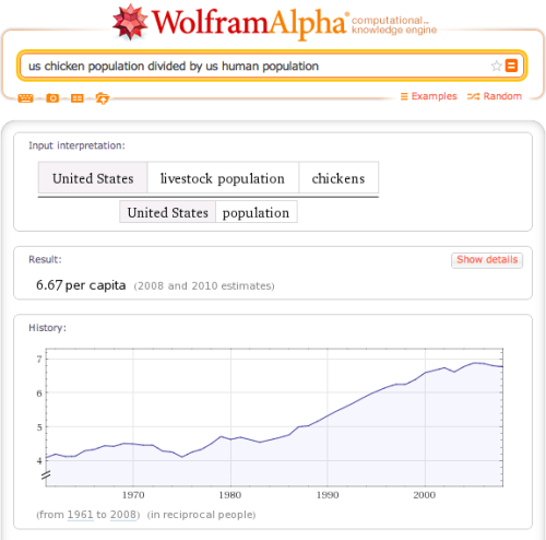 There are 6.67 chickens per person in the US. In China? 3.47 per person.