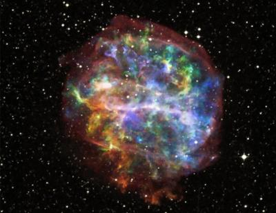Supernovae are the biggest explosions astronomers have ever beheld. When a large, dying star runs out of fuel, sometimes it will die through a cataclysmic explosion. This explosion forms many of the elements that we see here on Earth, which is evidence to say that you and I are made out of the dust of a supernova.  This is a remnant of supernova. It exploded many eons ago. All that remains is a giant cloud of gas and dust, which holds the building blocks of the planets and of life.
