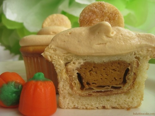 bakeitinacake:  Are you hoping to make my famous pumpkin pie-stuffed cupcakes this season? The recipe is in my new cookbook, Bake it in a Cupcake: 50 Treats With a Surprise Inside, out now on Andrews McMeel Publishing. You can buy it at you local bookstore as well as Amazon.com, Barnes & Noble, Indiebound.com, and Elliott Bay Book Company (Seattle).