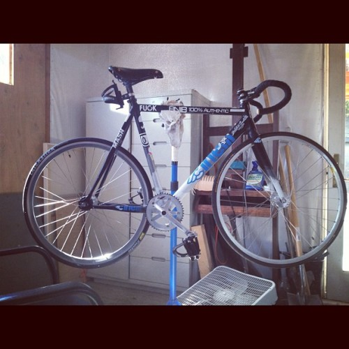 Ivan's dirty ass is finally getting a wash.  #muckriders #cinelli @mashsf @lashoetruck #trackbikes #fixedgear #bikes  (Taken with Instagram)