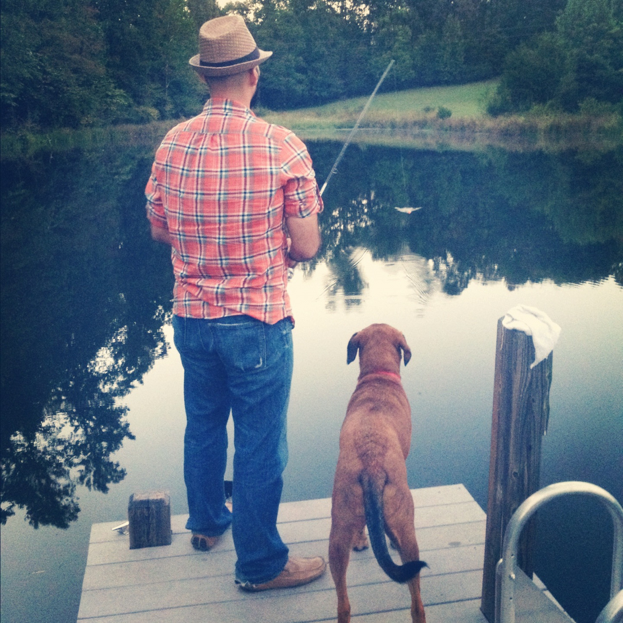 Milo LOVES fishing. He watches that bobber like a hawk!