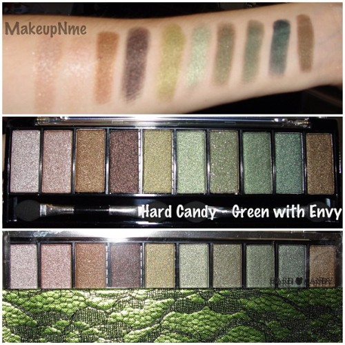 Hard Candy  Top Ten Eyeshadow Collection - Green with Envy #hardcandy #green #eyeshadow #instamakeup #makeupnme #hardcandycosmetics #makeup #swatches (Taken with Instagram)