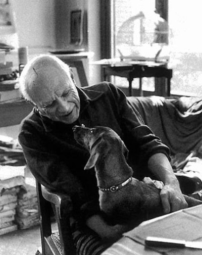 thesoulofmacushla:  Picasso and his dachshund, Lump, had an unbreakable bond. Lump originally belonged to photojournalist, David Douglas Duncan, but once Duncan saw the connection between Lump and Picasso, he agreed to give him away. The dog was allowed into the artist's studio while he was painting, and he was featured in many works. After spending sixteen years together, Picasso and Lump died only a week apart, in April 1973.