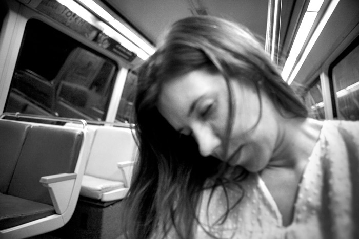 a passenger sleeps in the subway , Washington DC ,2012
