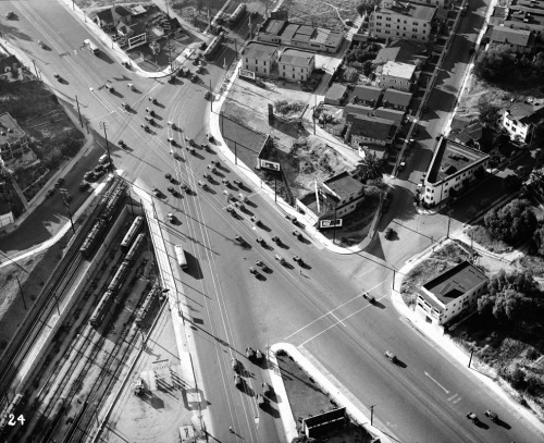 Aerial view of the intersection of First Street, Second Street, and Glendale Boulevard, as seen from the Goodyear blimp in 1936. Part of the Automobile Club of Southern California Collection in the USC Digital Library.
